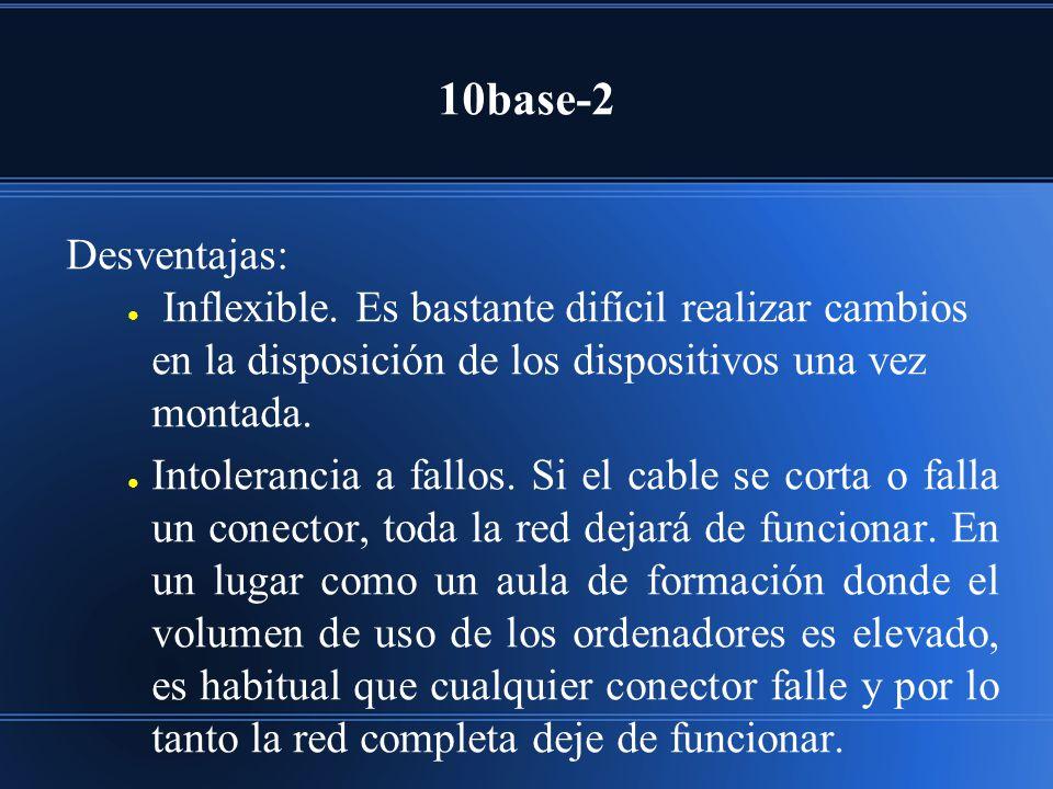 10base-2 Desventajas: Inflexible. Es bastante difícil realizar cambios en la disposición de los dispositivos una vez montada.