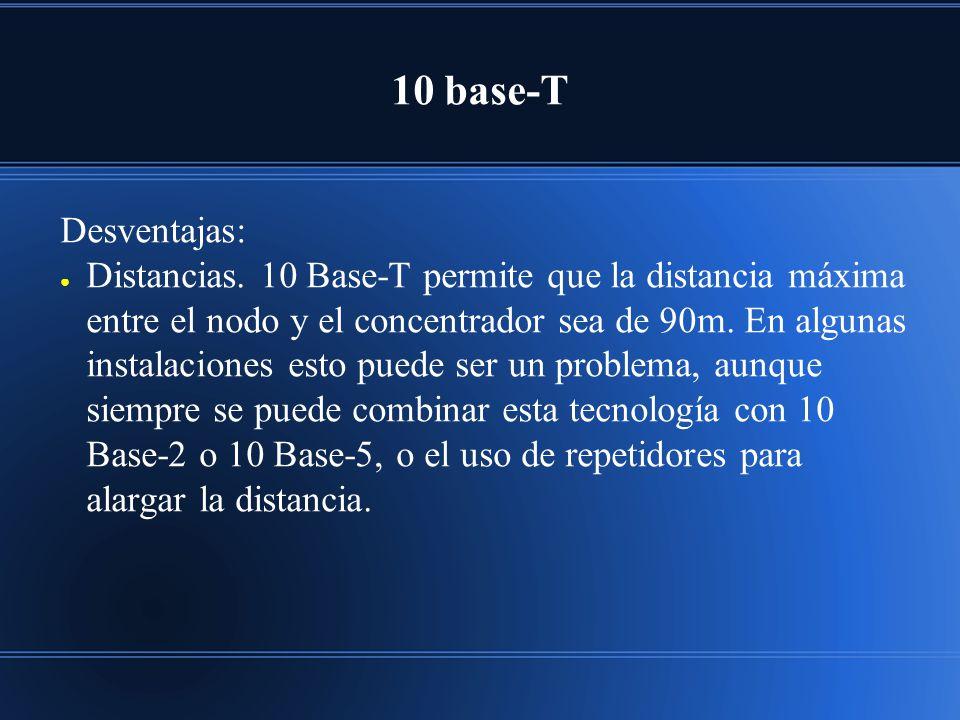 10 base-T Desventajas: