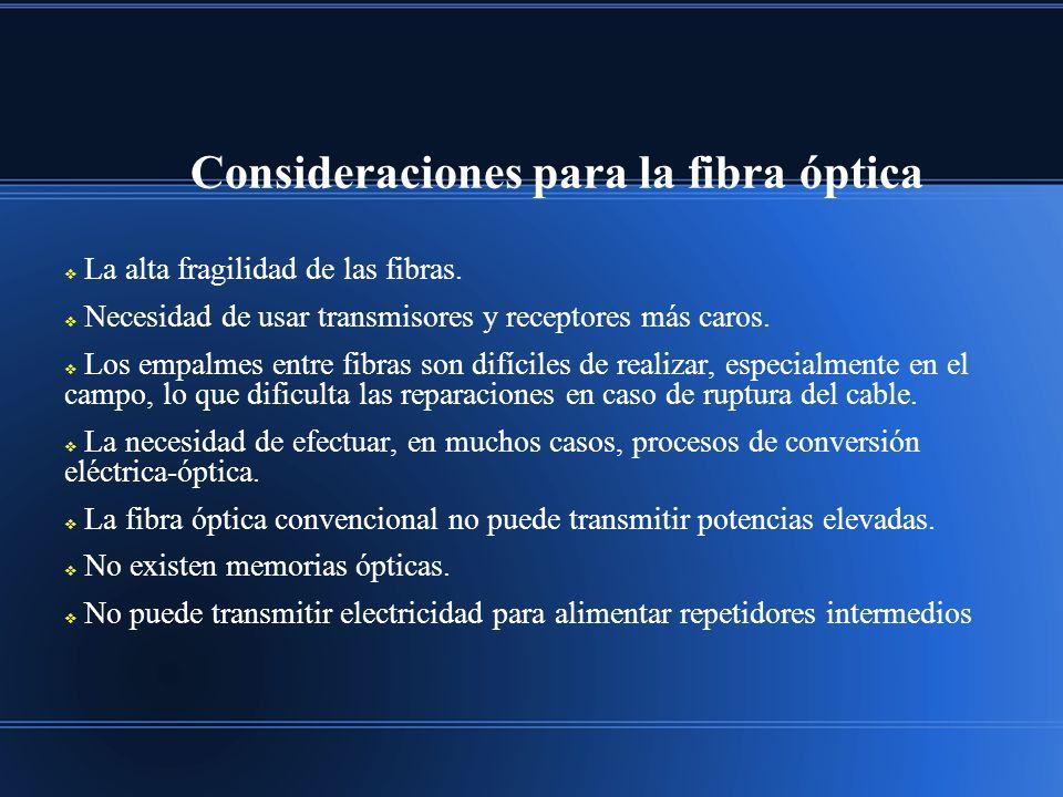 Consideraciones para la fibra óptica
