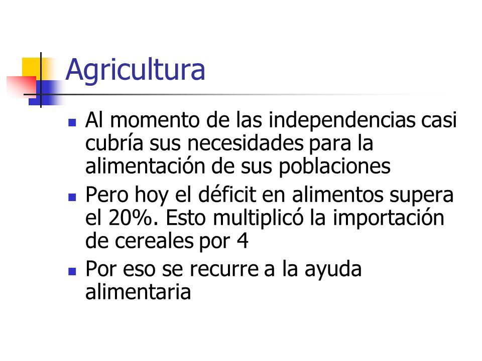 AgriculturaAl momento de las independencias casi cubría sus necesidades para la alimentación de sus poblaciones.