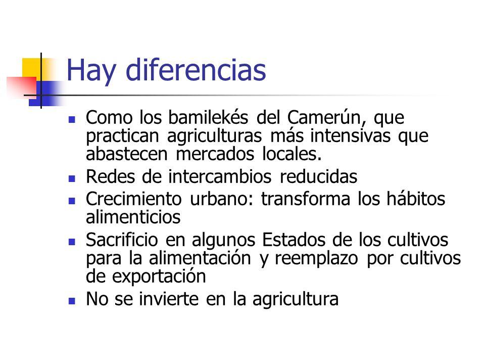 Hay diferencias Como los bamilekés del Camerún, que practican agriculturas más intensivas que abastecen mercados locales.