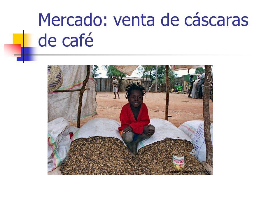 Mercado: venta de cáscaras de café