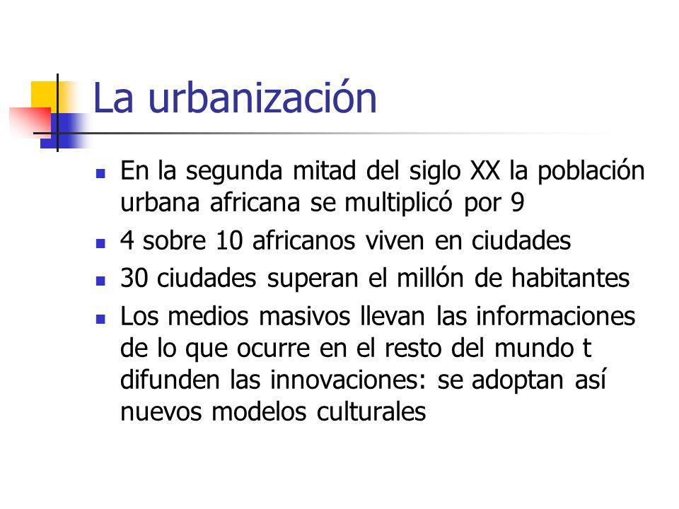 La urbanización En la segunda mitad del siglo XX la población urbana africana se multiplicó por 9. 4 sobre 10 africanos viven en ciudades.