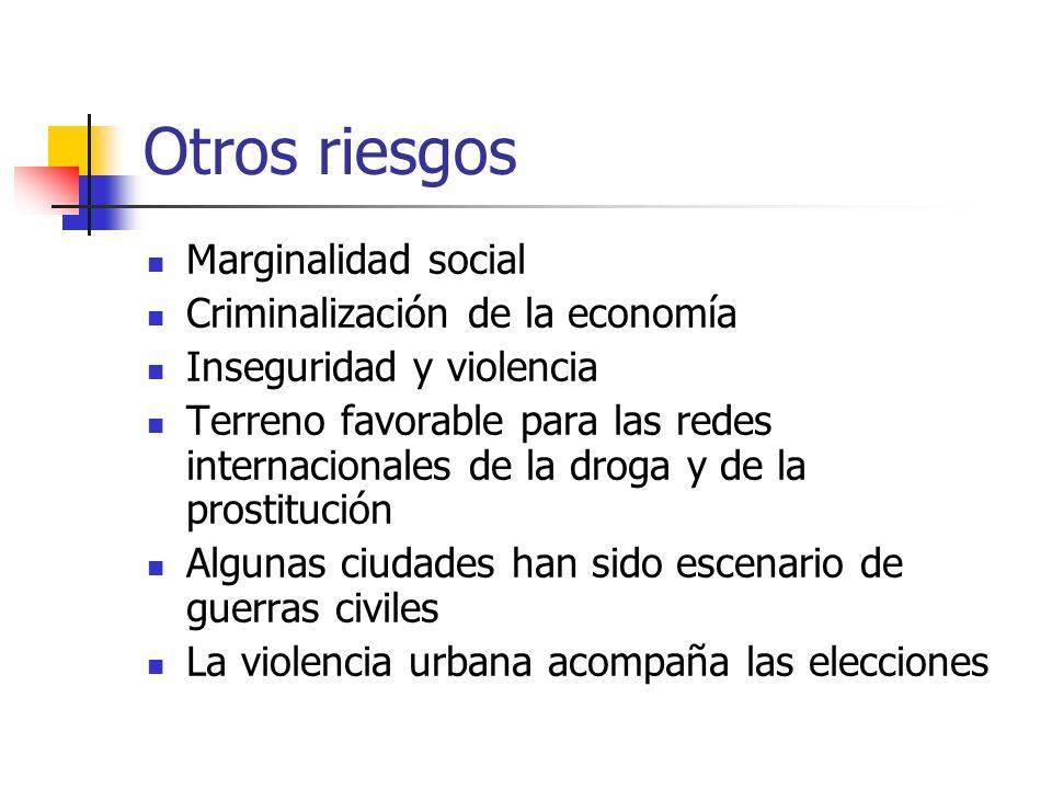 Otros riesgos Marginalidad social Criminalización de la economía