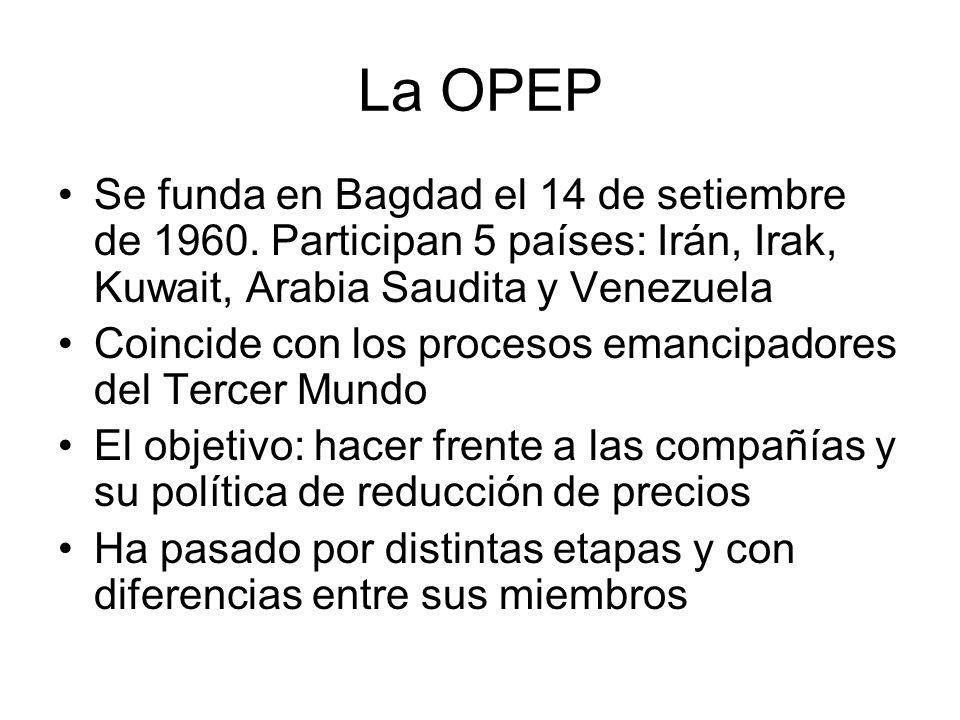 La OPEP Se funda en Bagdad el 14 de setiembre de 1960. Participan 5 países: Irán, Irak, Kuwait, Arabia Saudita y Venezuela.