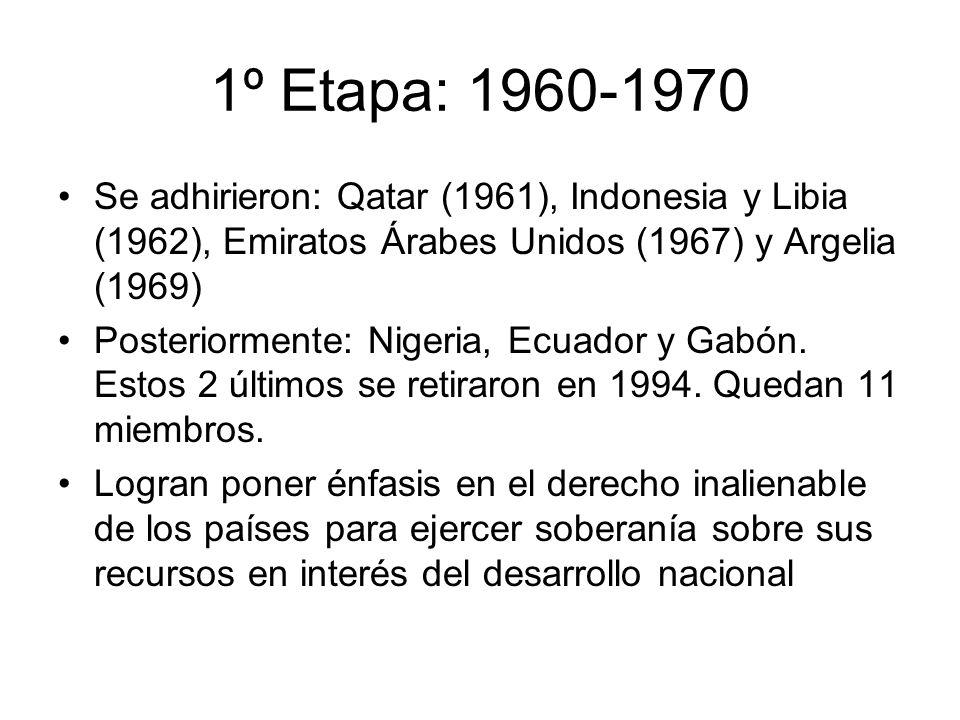 1º Etapa: 1960-1970 Se adhirieron: Qatar (1961), Indonesia y Libia (1962), Emiratos Árabes Unidos (1967) y Argelia (1969)