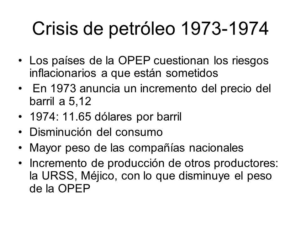 Crisis de petróleo 1973-1974 Los países de la OPEP cuestionan los riesgos inflacionarios a que están sometidos.