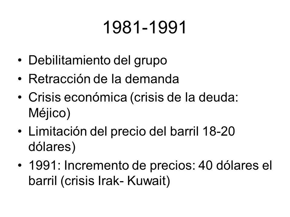 1981-1991 Debilitamiento del grupo Retracción de la demanda