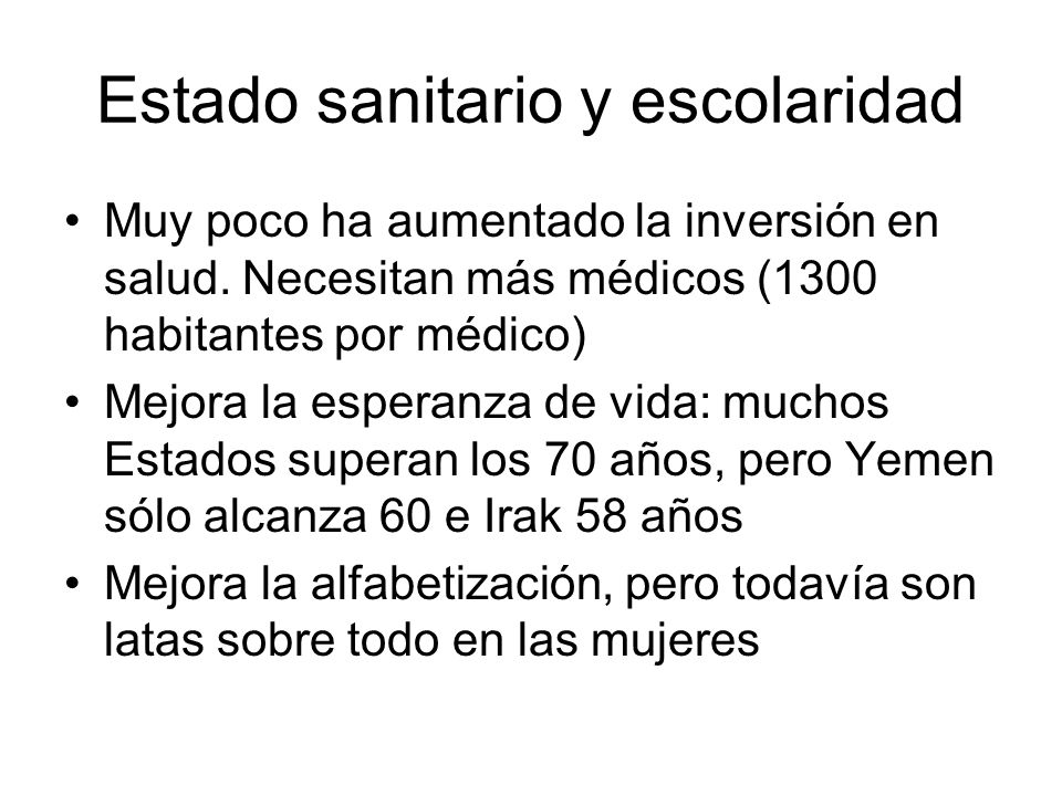 Estado sanitario y escolaridad