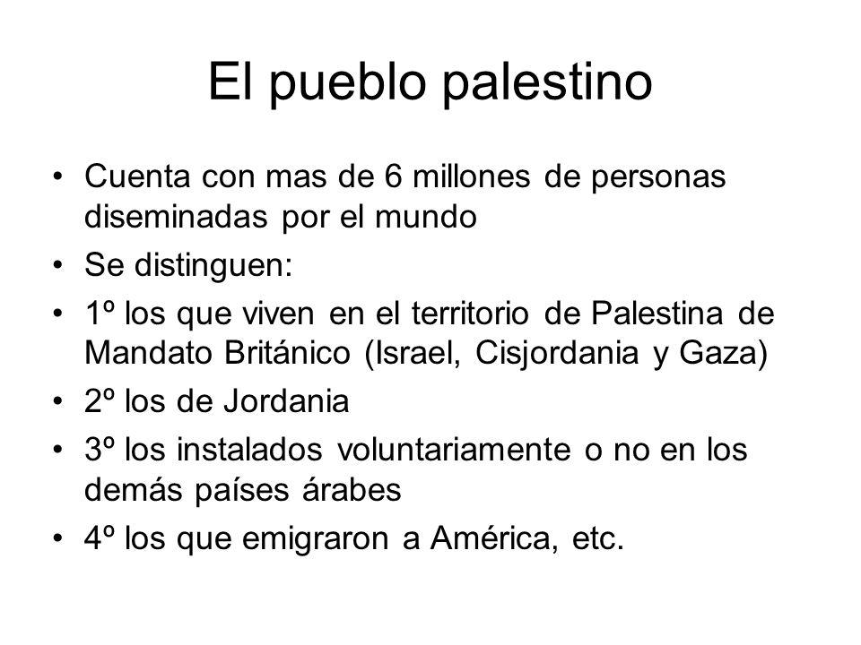 El pueblo palestino Cuenta con mas de 6 millones de personas diseminadas por el mundo. Se distinguen: