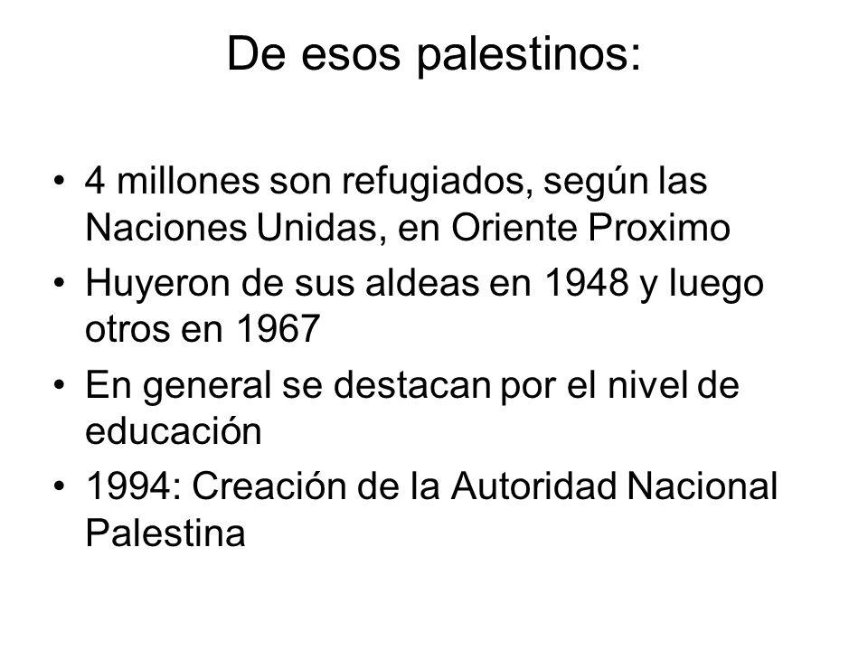 De esos palestinos: 4 millones son refugiados, según las Naciones Unidas, en Oriente Proximo. Huyeron de sus aldeas en 1948 y luego otros en 1967.