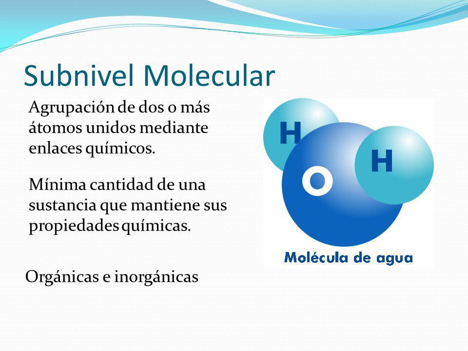 Subnivel Molecular Agrupación de dos o más átomos unidos mediante