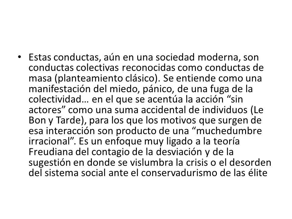 Estas conductas, aún en una sociedad moderna, son conductas colectivas reconocidas como conductas de masa (planteamiento clásico).