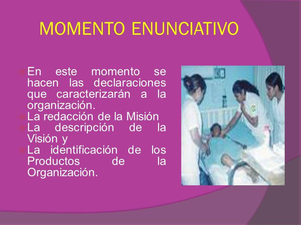MOMENTO ENUNCIATIVO En este momento se hacen las declaraciones que caracterizarán a la organización.