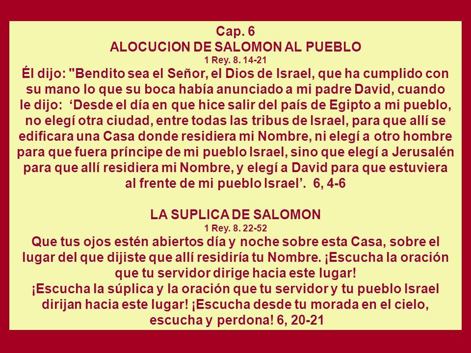 ALOCUCION DE SALOMON AL PUEBLO 1 Rey. 8. 14-21