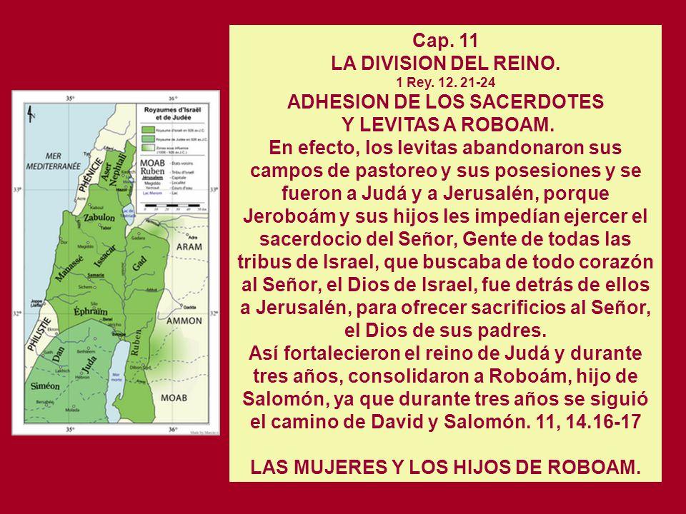 LA DIVISION DEL REINO. 1 Rey. 12. 21-24 ADHESION DE LOS SACERDOTES