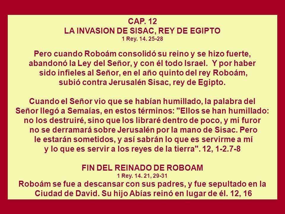 LA INVASION DE SISAC, REY DE EGIPTO 1 Rey. 14. 25-28