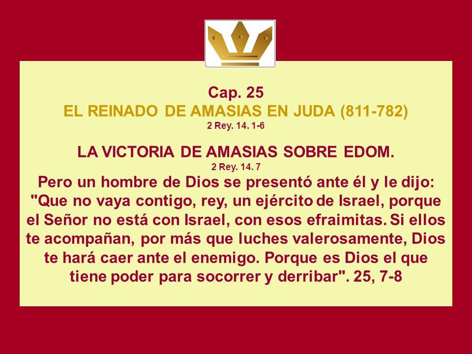 EL REINADO DE AMASIAS EN JUDA (811-782) 2 Rey. 14. 1-6