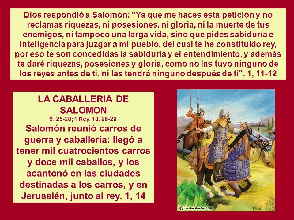 LA CABALLERIA DE SALOMON 9. 25-28; 1 Rey. 10. 26-29