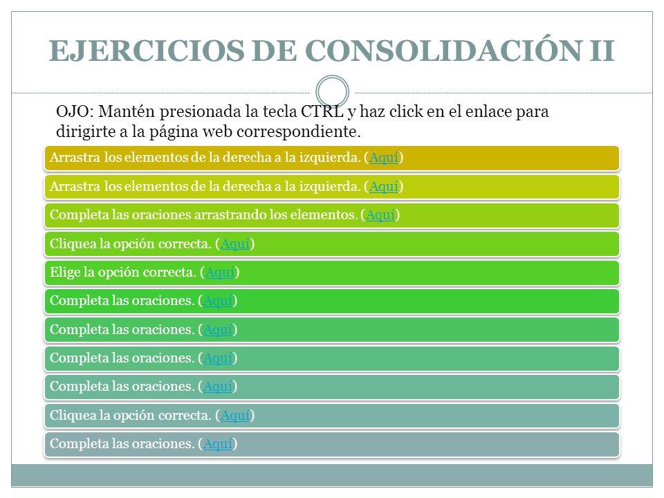 EJERCICIOS DE CONSOLIDACIÓN II