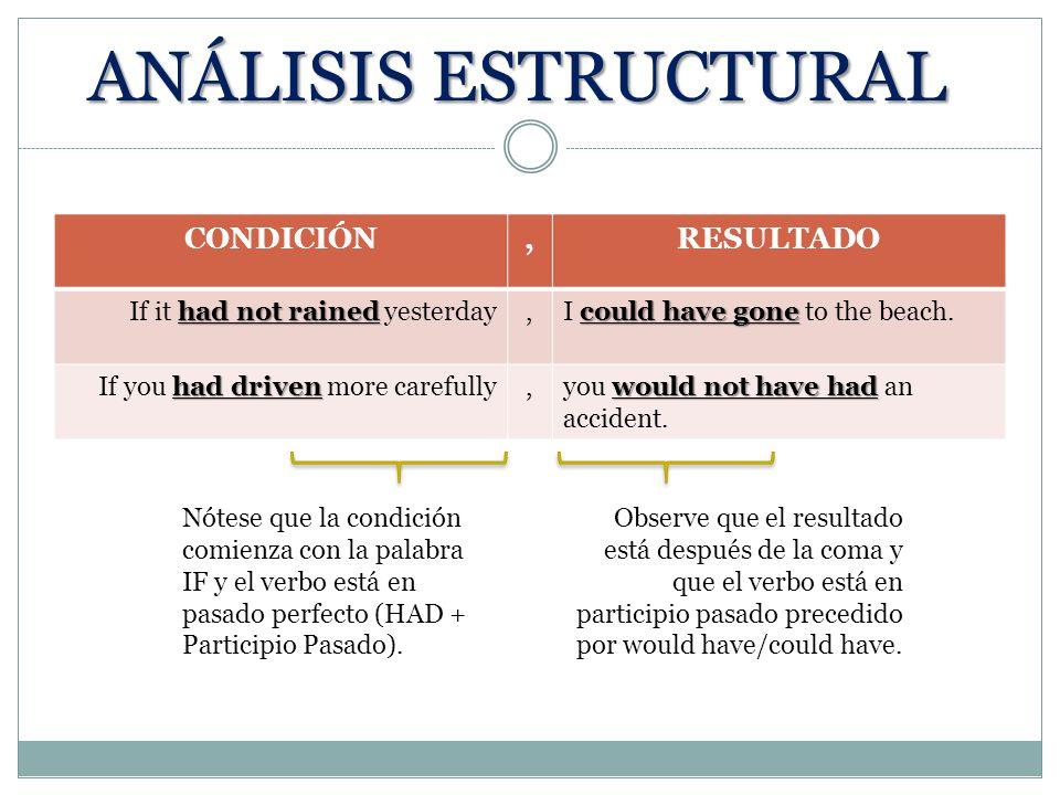 ANÁLISIS ESTRUCTURAL CONDICIÓN , RESULTADO