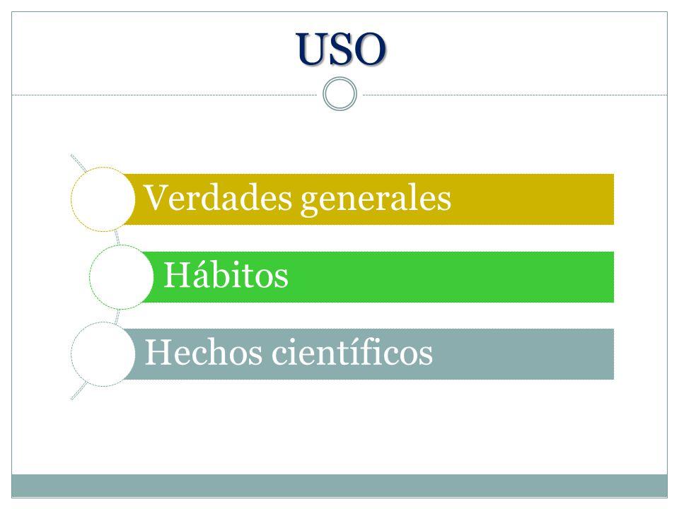 USO Verdades generales Hábitos Hechos científicos