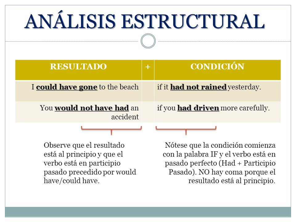ANÁLISIS ESTRUCTURAL RESULTADO + CONDICIÓN
