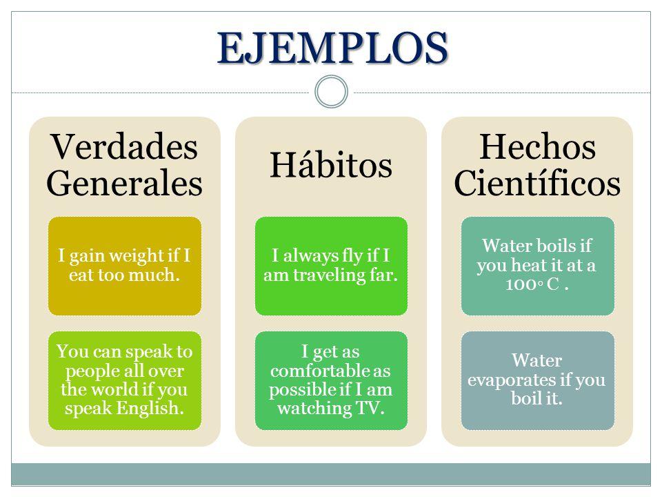 EJEMPLOS Verdades Generales Hábitos Hechos Científicos