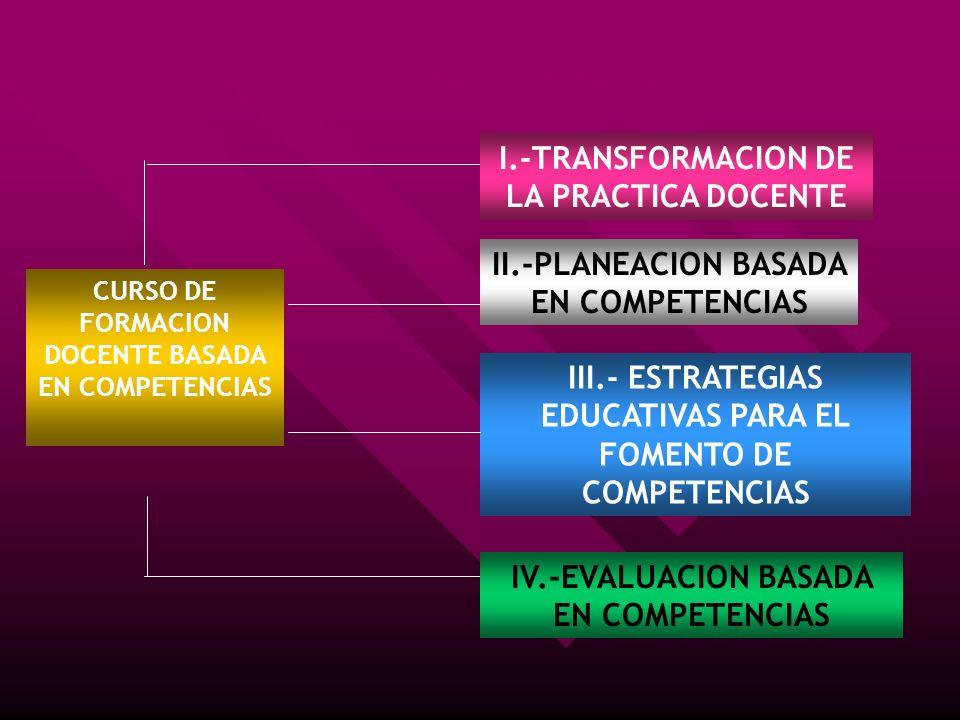 I.-TRANSFORMACION DE LA PRACTICA DOCENTE