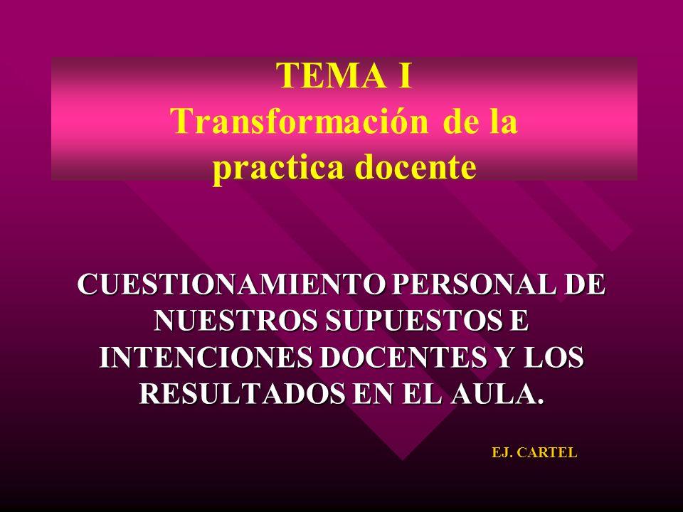 TEMA I Transformación de la practica docente