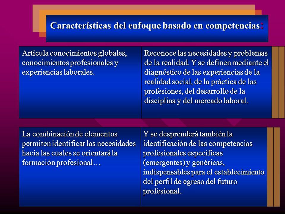 Características del enfoque basado en competencias: