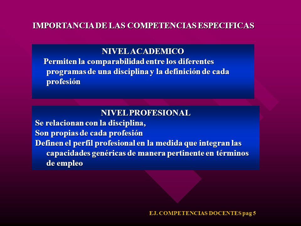 IMPORTANCIA DE LAS COMPETENCIAS ESPECIFICAS
