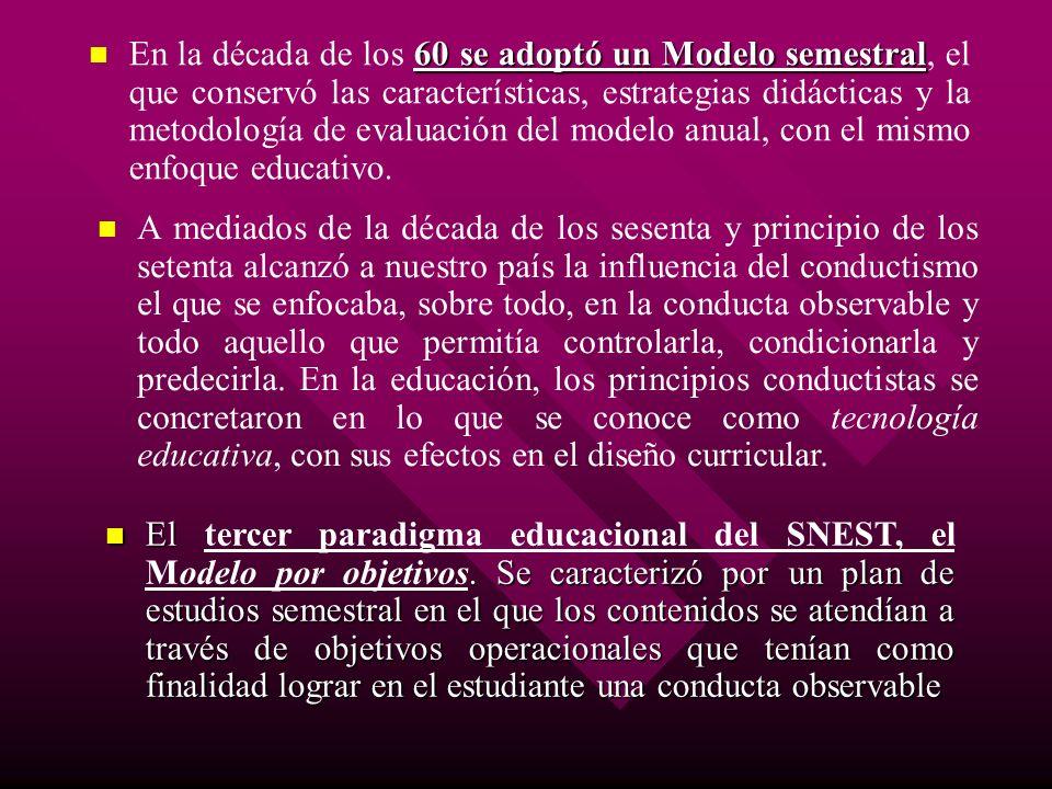 En la década de los 60 se adoptó un Modelo semestral, el que conservó las características, estrategias didácticas y la metodología de evaluación del modelo anual, con el mismo enfoque educativo.