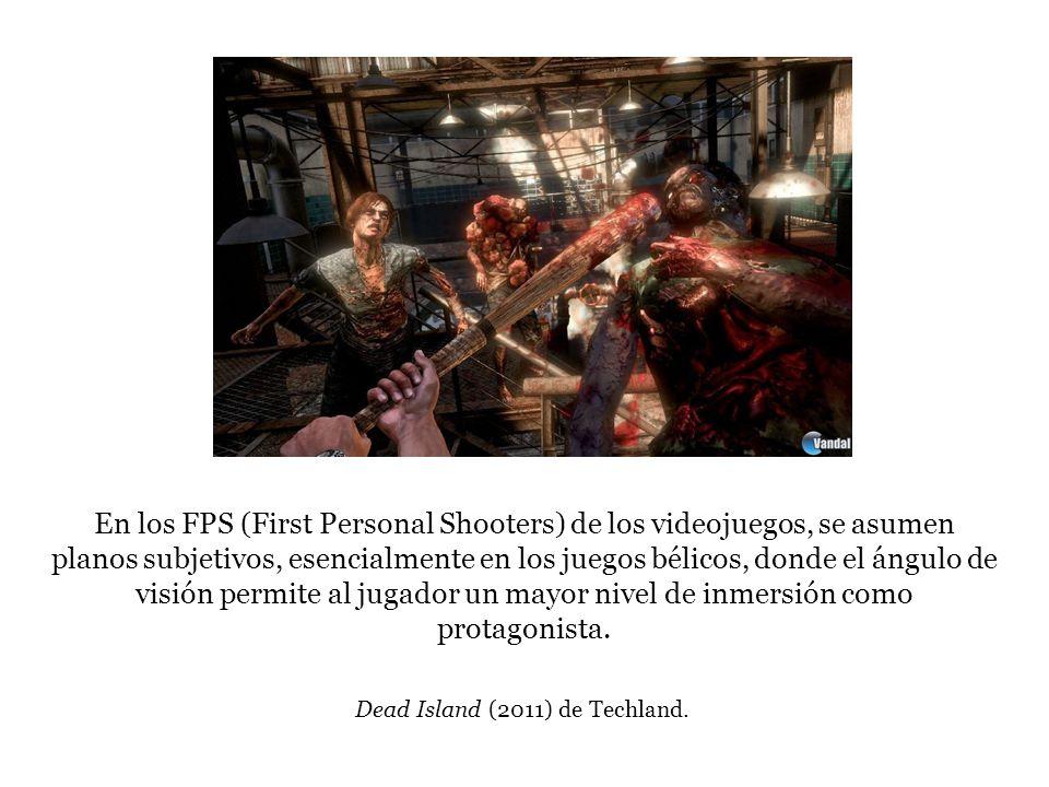 En los FPS (First Personal Shooters) de los videojuegos, se asumen planos subjetivos, esencialmente en los juegos bélicos, donde el ángulo de visión permite al jugador un mayor nivel de inmersión como protagonista.