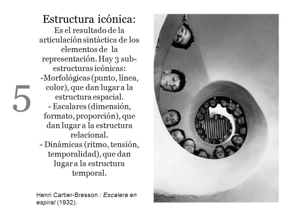 Estructura icónica: Es el resultado de la articulación sintáctica de los elementos de la representación. Hay 3 sub-estructuras icónicas: