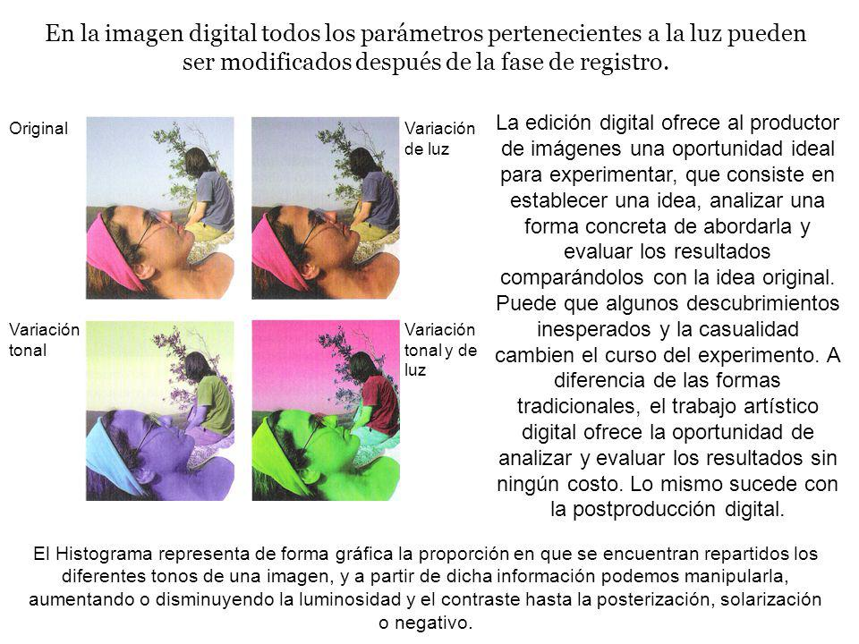 En la imagen digital todos los parámetros pertenecientes a la luz pueden ser modificados después de la fase de registro.