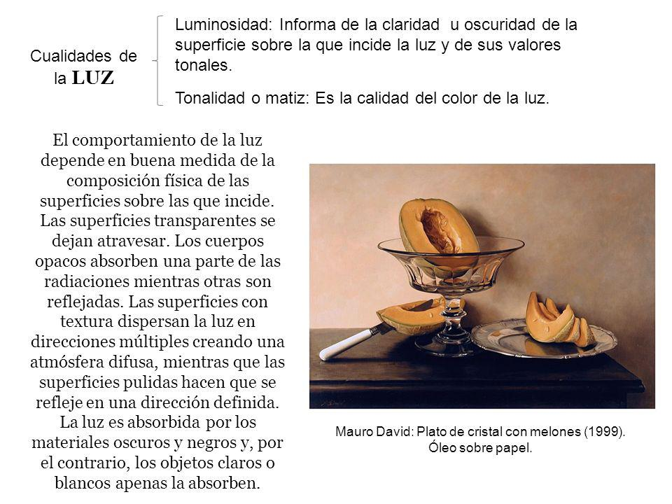 Mauro David: Plato de cristal con melones (1999). Óleo sobre papel.