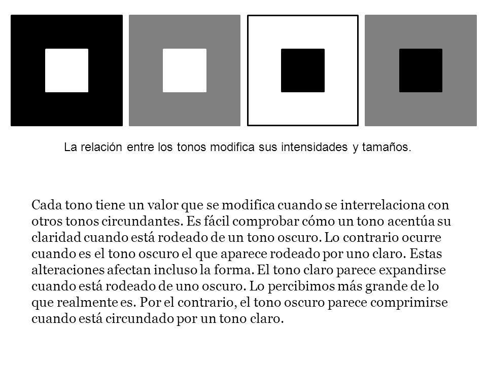 La relación entre los tonos modifica sus intensidades y tamaños.