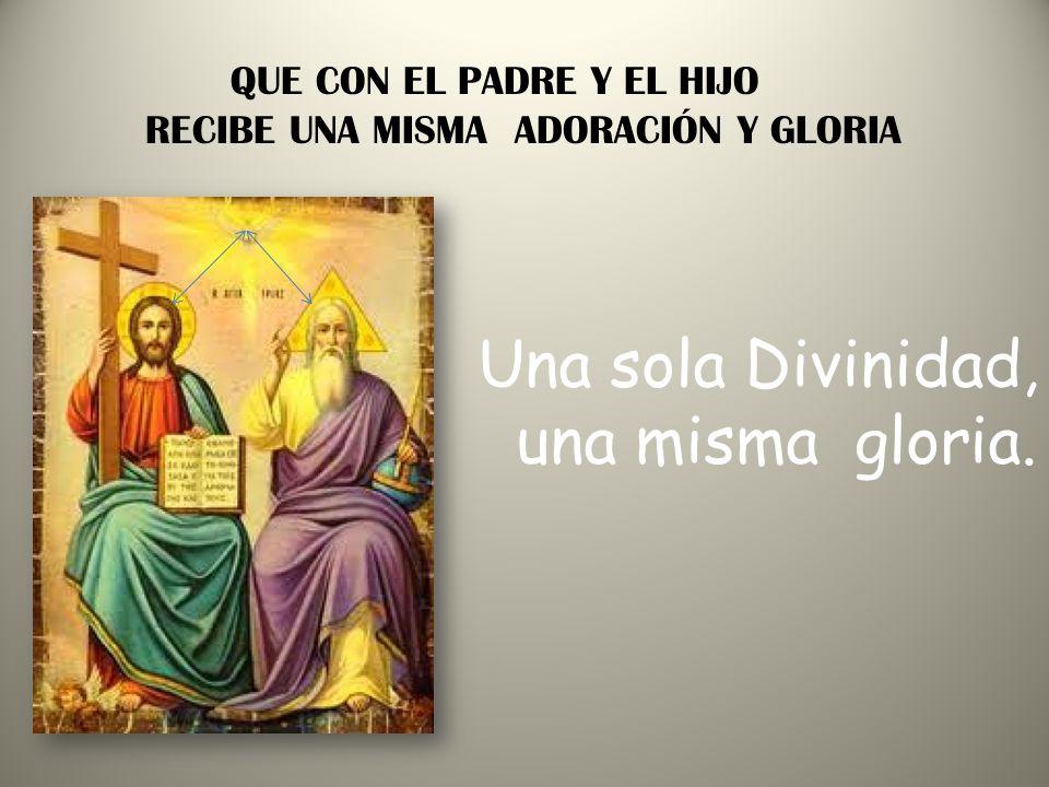 Una sola Divinidad, una misma gloria. QUE CON EL PADRE Y EL HIJO