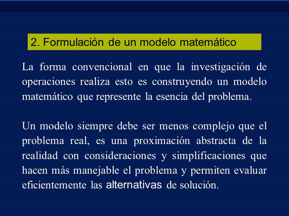 2. Formulación de un modelo matemático