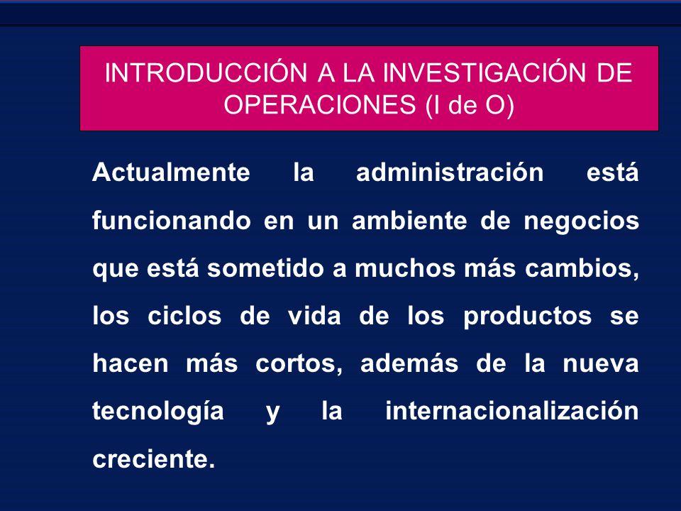 INTRODUCCIÓN A LA INVESTIGACIÓN DE OPERACIONES (I de O)