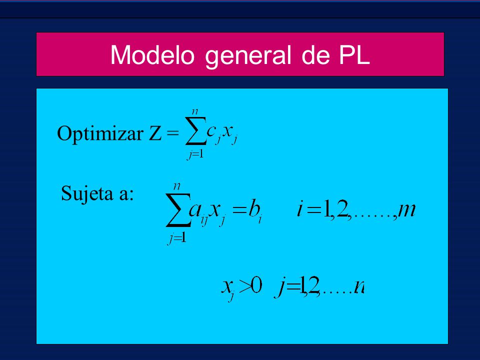 Modelo general de PL Optimizar Z = Sujeta a: