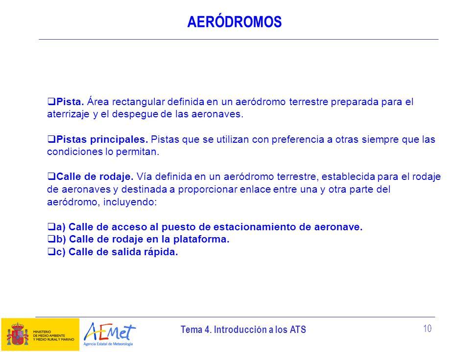 AERÓDROMOSPista. Área rectangular definida en un aeródromo terrestre preparada para el aterrizaje y el despegue de las aeronaves.