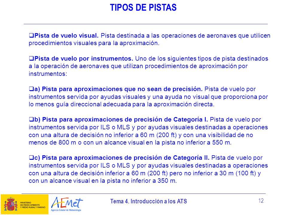 TIPOS DE PISTASPista de vuelo visual. Pista destinada a las operaciones de aeronaves que utilicen procedimientos visuales para la aproximación.
