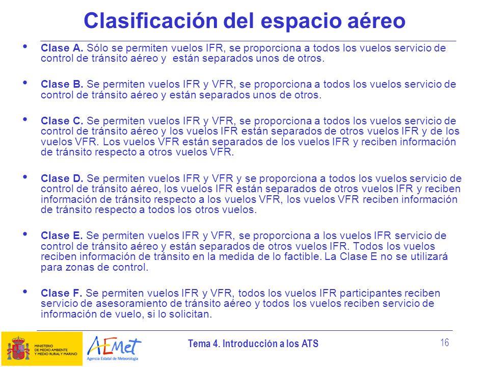 Clasificación del espacio aéreo