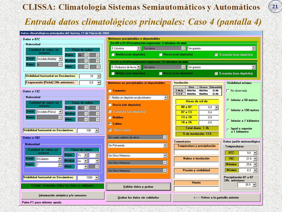 Entrada datos climatológicos principales: Caso 4 (pantalla 4)