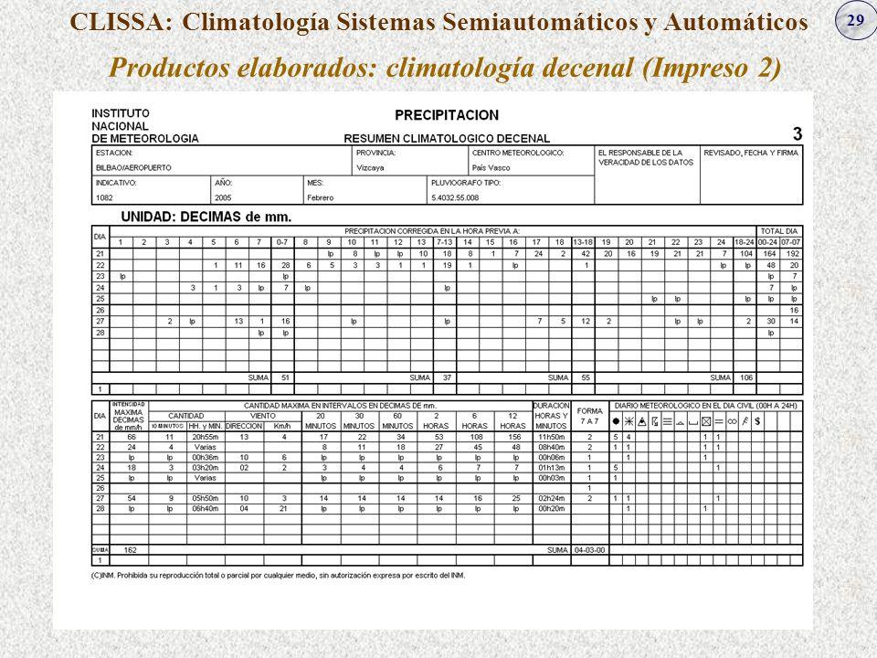 Productos elaborados: climatología decenal (Impreso 2)