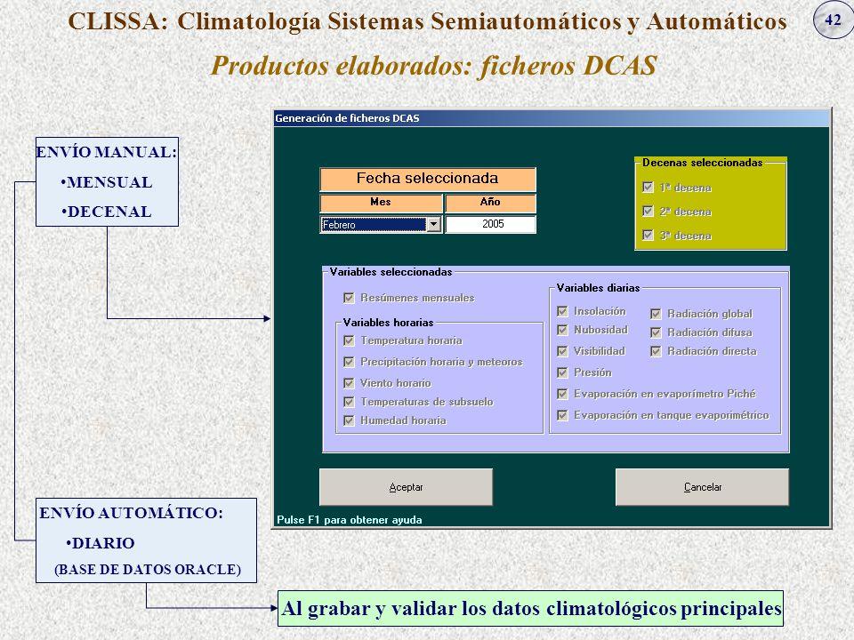 Productos elaborados: ficheros DCAS