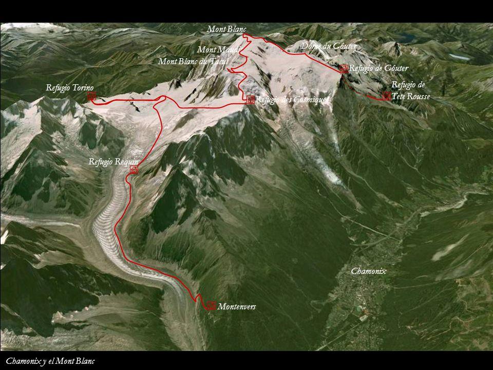Mont Blanc Dôme du Gôuter. Mont Maudit. Mont Blanc du Tacul. Refugio de Gôuter. Refugio de. Tete Rousse.