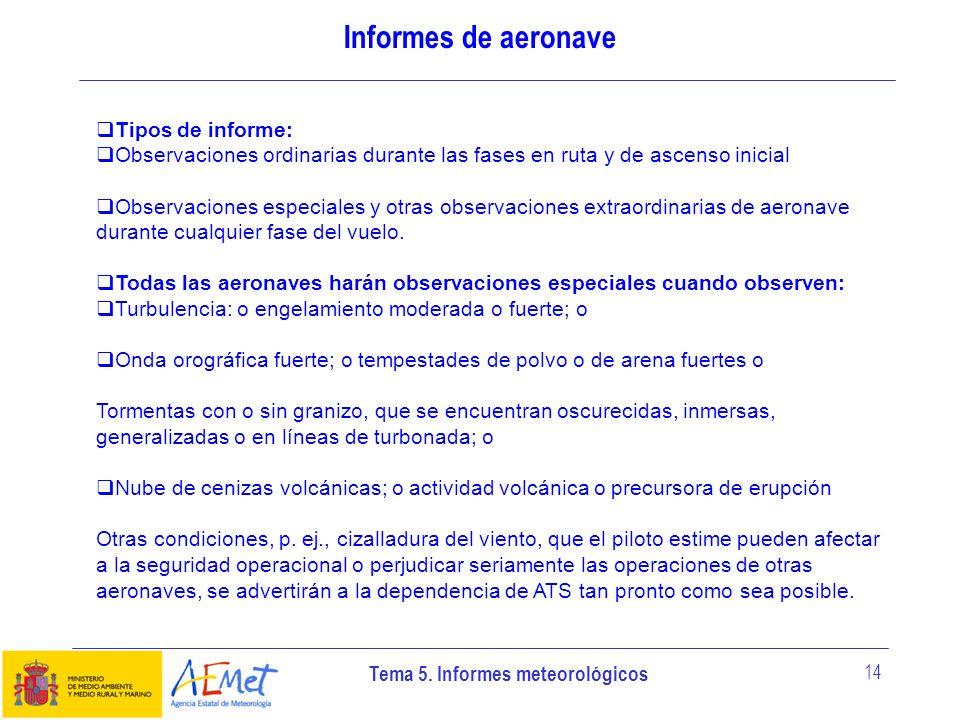 Informes de aeronave Tipos de informe: